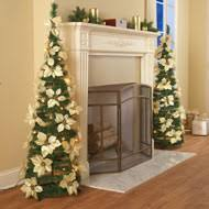 lighted poinsettia pull up tree from collections etc