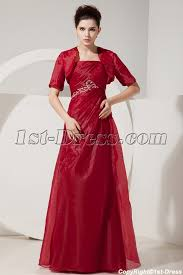 burgundy organza empire evening dress with jacket for plus size