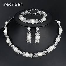 bridal earrings bracelet sets images Hot seller mecresh simulated pearl bridal jewelry sets silver jpg