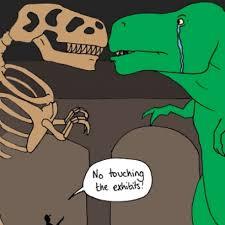 sad t rex kept down by the man comic