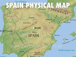 physical map of spain spain by mcdearman