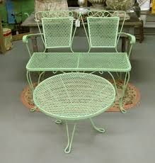 Retro Patio Furniture Lawn Garden Attractive Outdoor Vintage Metal Chair Yellow Powdered