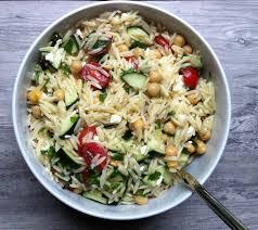 summer orzo pasta salad zucchini tomatoes mint basil feta