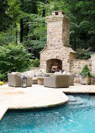 outdoor pool patio fireplace outdoor fireplace placed on pool
