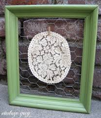 Old Fashioned Picture Frames Vintage Grey Chicken Wire And A Garland