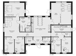 plan plain pied 5 chambres plan de maison plain pied en u cuisine gorgeous plan maison en u