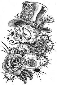 skull flower and aces tattoo sketch design tattoomagz