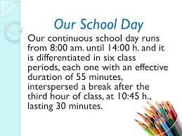 our school day our continuous school day runs from 8 00 am until