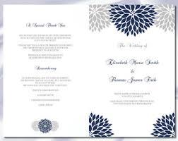 Church Programs Template Catholic Wedding Program Template Diy Navy Blue Cross