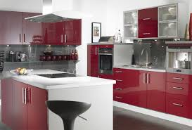 gorgeous and cool red cabinet with modern kitchens simple home