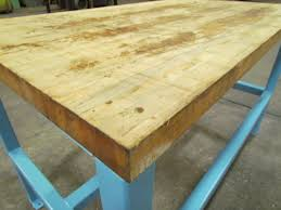 industrial butcher block workbench table welded steel frame industrial butcher block workbench table welded steel frame 72x34x32