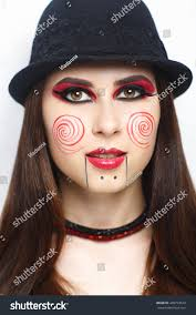 scaring woman bodyart halloween make billy stock photo 449753623