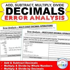 decimal operations word problems error analysis find the error