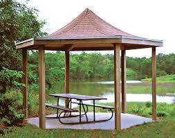 14x14 Outdoor Gazebo by Wood Single Roof Victory Hexagon Pavilions Pavilions By Shape