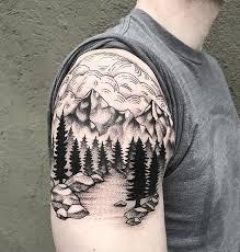 30 mountain with trees tattoos