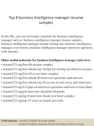 Cio Resume Sample by Top8businessintelligencemanagerresumesamples 150410094405 Conversion Gate01 Thumbnail 4 Jpg Cb U003d1428677094