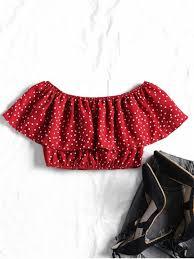 s blouse shoulder polka dot crop blouse blouses s zaful