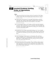 leveled problem solving order of operations 5th 7th grade