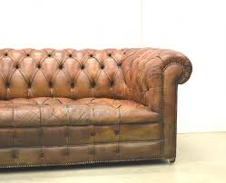 Used Chesterfield Sofa For Sale by English Art Deco Cognac Leather Chesterfield Two Seater Sofa