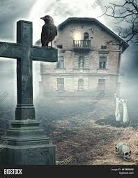 halloween background with house halloween mystical spooky background with cross and haunted house