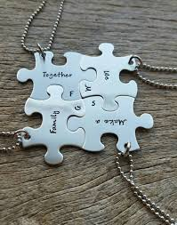customizable necklace personalized sted set of 4 puzzle necklace set