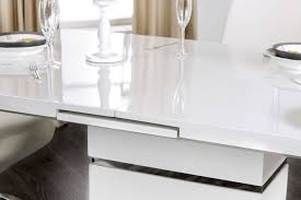 White Lacquer Sofa Table by Midvale Contemporary Style White High Gloss Lacquer Finish