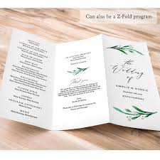 trifold wedding program z fold or trifold wedding program printable template order of