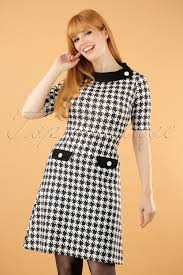 houndstooth dress 60s houndstooth dress in black and white
