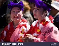 National Cherry Blossom Festival by Japanese Traditional Dancers In Kimonos National Cherry Blossom