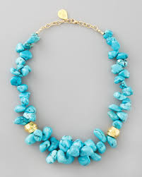 turquoise colored necklace images Lyst devon leigh turquoise cluster beaded necklace in blue jpeg