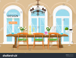 vintage graphic dining room interior dining stock vector 506290297