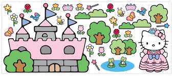 hello kitty princess castle giant removable wall sticker wall2wall hello kitty princess castle giant removable wall sticker