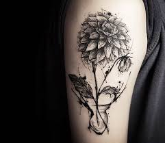 dahlia flower tattoo by tattooer nadi photo no 15709