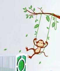 28 monkey wall sticker monkey around fabric wall decal by monkey wall sticker 6 swinging monkey leafy dreams nursery decals removable