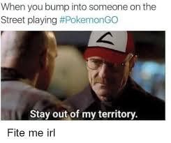 Memes Irl - when you bump into someone on the street playing pokemongo stay out