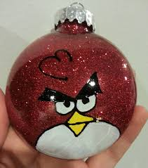 1 hand glittered and painted angry bird ornament 7 00 via etsy