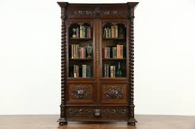 sold forest antique 1890 oak library bookcase carved art
