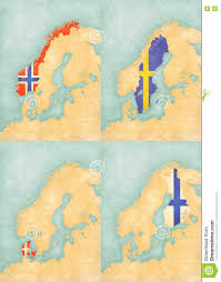 Scandinavia Map Map Of Scandinavia Norway Sweden Denmark And Finland Stock