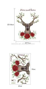 new design deer head wall sticker animal series decals 3d vinyl