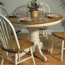 Kitchen Tables And More by Barnsdale Round Pedestal Two Tone Dining Table White Burnished