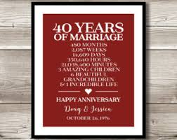 40th wedding anniversary gift ideas 40th anniversary gift for parents etsy