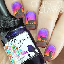 copycat claws cats at sunset nail art