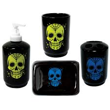sugar skull tattoo bath set rockabilly retro punk gothic day dead