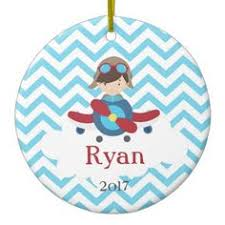personalized ornament airplane pilot boy blue chevron