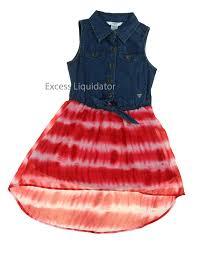 guess kids girls denim u0026 red tie dye dress size 10 ebay