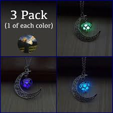 silver plated necklace images 3 pack glowing moon heart silver plated necklace treasure fan jpg
