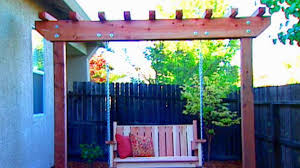 Backyard Swing Plans by How To Build A Freestanding Arbor Swing How Tos Diy