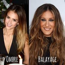 highlights vs ombre style images that display the difference between balayage vs ombre bun