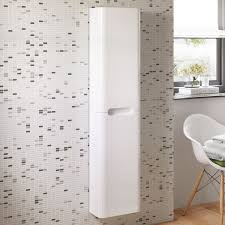 metro high gloss white tallboy wall mounted bathroom cabinet
