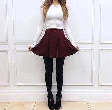 skirt pleated red short skirt white black booties black